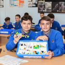Daire Sheehy, Nikodem Morawiec and other second year students St Joseph's CBS, Fairview, Dublin in their robotics class. Photo: Mark Condren