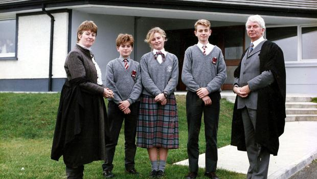 Joseph O'Dwyer (right) in 1988 at the opening of the school's new building, with Bairbre, Joe, Anna-Rose and Muiris