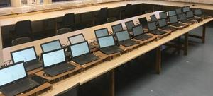 Some of the 60 laptops donated to Larkin Community College