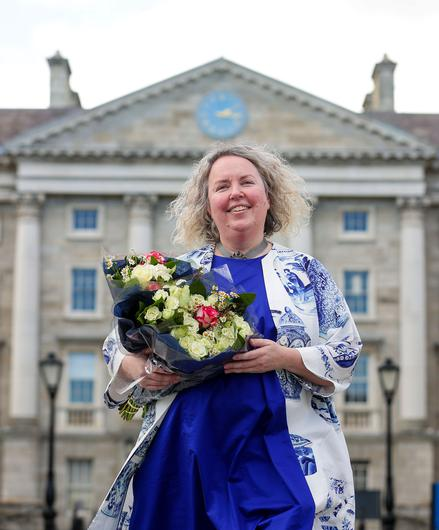 Prof Linda Doyle pictured in the grounds of Trinity College after she was elected. She is the first woman to hold the position of Provost. Picture: Gerry Mooney