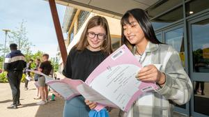 Leaving Cert students Frances Corkery and Kim Keohane at Ballincollig Community School after finishing Maths paper 2. Photo: John Allen/Provision