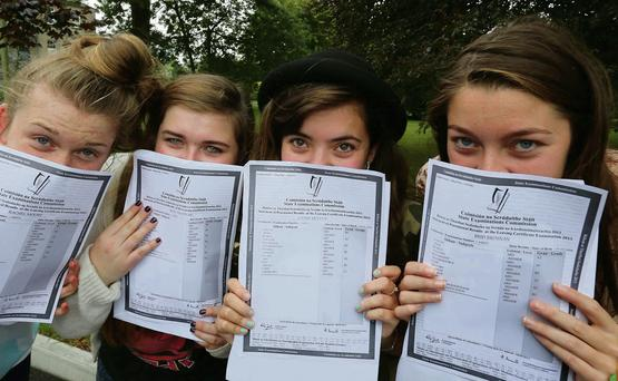Success: Girls from Abbey Community College, Waterford get last year's Leaving Cert results