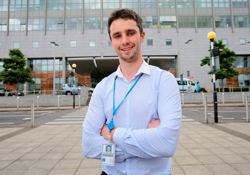 Lorcan on work experience at St. Vincent's Hospital, Dublin Photo: Frank McGrath
