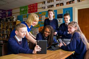 Sharing feedback:  English teacher Siobhan Reynolds with second-year  pupils Jack  McAvinue, Kharisma Messam, Andrew Wright, Alan Farrell and Claire Dempsey at Stratford  College, Rathgar, Dublin.