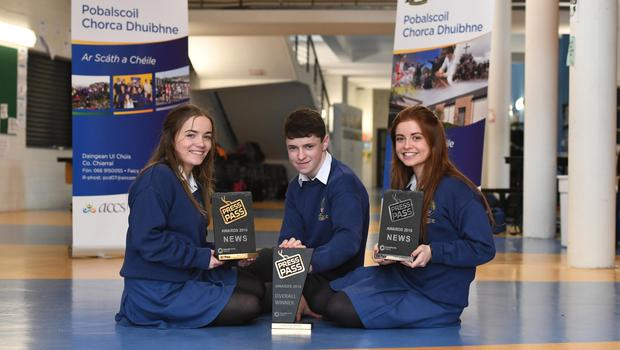 Critical thinking: Kate Ní Dhubháin, winner of the News category, Tomas Ó hUallacháin, overall winner, and Ciara Ní Bhruic, who was second in the 'News' category in the Press Pass Awards