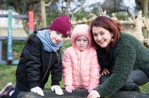 Back to nature: Principal Siobhan  Fitzgerald with Rachel and Katie Ward at Eglish NS, Ahascragh, Ballinasloe, Co Galway. Photo: Andrew Downes