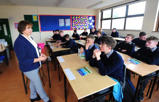 Guidance counsellor Betty McLaughlin with students at Scoil Mhuire CBS Mullingar. Photograph: James Flynn/APX