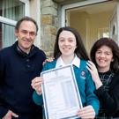 Ciara Kenny from Coolmeen near Kilrush Co Clare with her parents Michael and Catherine