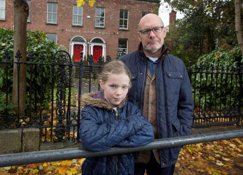 Dave Robbins and his daughter Grace at Rathgar Junior School, on Grosvenor Road, Rathmines. Photo: Fergal Phillips