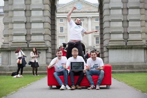 MatchDay's Johnny Deane (seated, centre) with Dylan Scully to his right, Jack Boyle to his left and Ian O'Riordan jumping behind him. 'I started to realise what I really wanted to do in terms of working around technology directly because of the people I met during my time at college,' says Johnny.