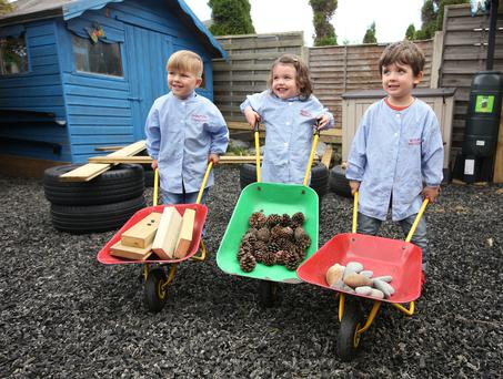 From left to right are, Angel Genunchi, Lara Nolan, and Noah King, all aged 3, playing in Beverton's pre school in Donabate, Co Dublin. Photo: Damien Eagers