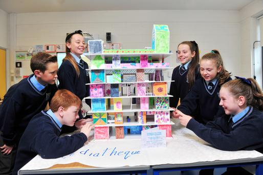 From left: Fourth class students Ryan Geaney, Conor McCarthy, Rebecca Moynihan, Ava Murray, Ellie Higginston and Chloe Stewart, from Scoil Oilibhéir primary school, Ballyvolane, Cork Photo: Daragh Mc Sweeney/Provision