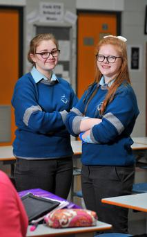 Katie Lombard and Ellen Collins, Coláiste Choilm Ballincollig, Co Cork, who are addressing gender identity. Photo: Darah McSweeney/Provision