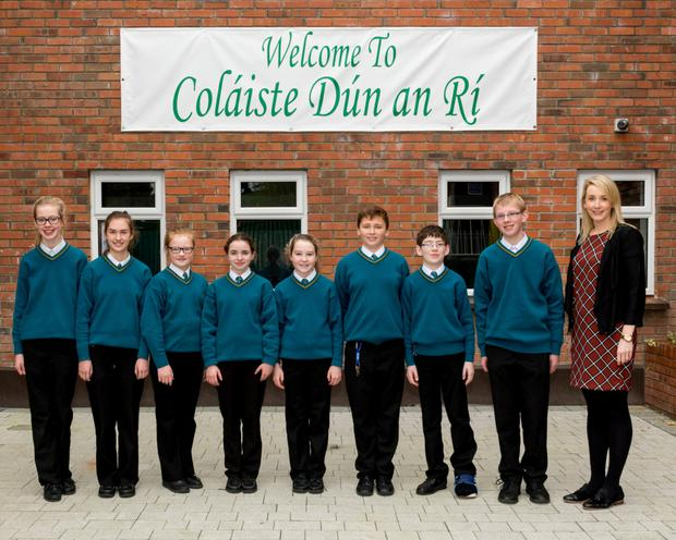 First year pupils from Coláiste Dún an Rí, Kingscourt, who will showcase projects at the Young Scientist exhibition, with their teacher Ms Lorraine Hickey: (l to r) Ella Sexton, Shanice Meegan, Emily Dickson, Lucy Fitzsimons, Ava McCaul, Evan O'Reilly, Mark Byrne and Oisín Blake