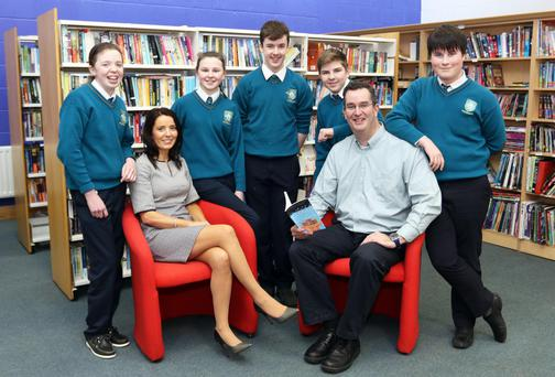 School policy: Sharon Magennis, principal, Largy College, and school chaplain Shane Moran with second year students; (from left) Catherine Sheridan, Ruth Madden, Aaron McMahon, Mark Ahramovics and Luke Maguire. Photos: Lorraine Teevan