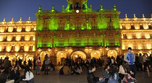 The Plaza Mayor, Salamanca, Spain, illuminated green for St Patrick's Day, all thanks to Ben Finnegan