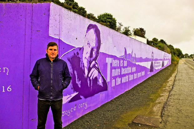 Michael McDermott at the Unwrapping Words mural in Moville, Co Donegal