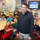 Matt Wallen and pupils at Knocknacarra Educate Together. PHOTO: ANDREW DOWNES