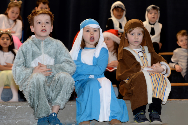 First Class students Rian Alonso, Roisin Hickey and Joseph Pacini performing at St Louis' nativity play in Rathmines