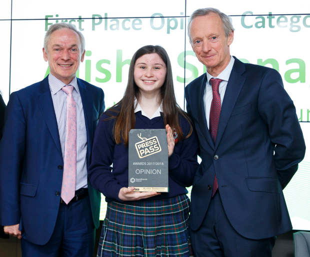 Winner of the 'Opinion' category, Alisha Shanagher, Our Lady's School, Terenure, with Education Minister Richard Bruton and NewsBrands Ireland chairman Vincent Crowley. Photo: Andres Poveda