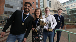 Hamaad Sajid, Orlaith Keys, Keith McCabe and Shaun Spelman with the trophy they won for the NIBS International Case Study competition last spring