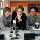 Synge Street students preparing for the BT Young Scientist Competition (l-r); Yaduvik Harhangi; Marton Goz, and his brother Benedek, Dhruv Bhamidipati, and Elvin Lucaci. Picture: Caroline Quinn