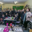 Phone policy: Teacher Louise McCann with her sixth class in St Patrick's Loreto primary school in Bray, Co Wicklow. Picture: Kyran O'Brien