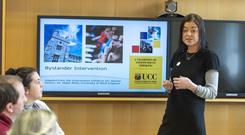 Dr Louise Crowley of the UCC School of Law delivering a workshop to second-level teachers about introducing bystander intervention lessons to their schools. Photo: Michael Mac Sweeney/Provision