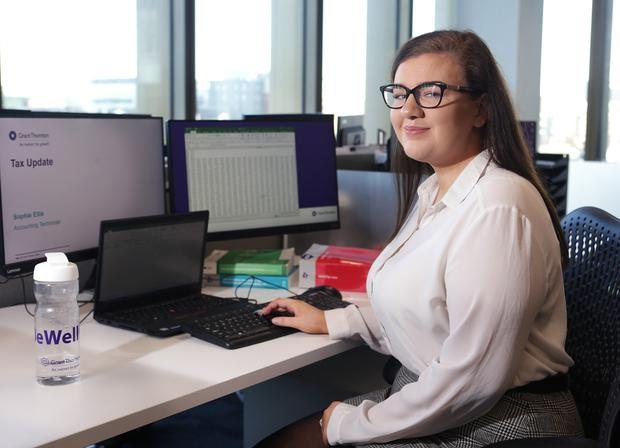 Sophie Ellis says getting to experience real-life scenarios in the accountancy world is one of the major advantages of her apprenticeship. Photo: Damien Eagers / INM