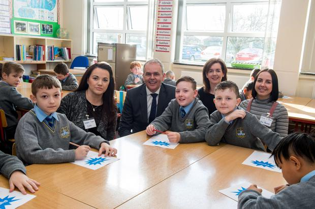 Pupils and staff at Drimnagh Castle Primary School in Dublin with Education Minister Joe McHugh at the recent launch of the School Inclusion Model trial