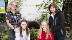 From left to right: Garden designer Marion Keogh, Loreto Stephen's Green Transition Year students Claire Madden and Natasha Hemeryck with horticulture teacher Dympna Kirke in front of their Famine-themed Bloom exhibition PHOTO: IAIN WHITE/ FENNELL PHOTOGRAPHY