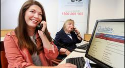 Roisin O'Donohoe from the Institute of Guidance Counsellors (left) and Honor McAndrew, IGC Helpline Coordinator at the Leaving Cert Helpline at Croke Park. Photo: Steve Humphreys