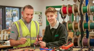 Alana Kernan at work with Combilift Electrical Superviser Maurice McMeel