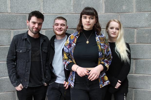 Students of the popular Music, Management and Sound PLC at Coláiste Stiofain Naofa (CSN) College of Further Education, Cork, who performed at a showcase concert earlier this year to celebrate 30 years of the programme: (l-r) Thomas O'Brien, Kerry; Luke Considine, Clare; Julie O'Sullivan, Ballydehob; and Lily Rose Murphy-Ownsworth, London