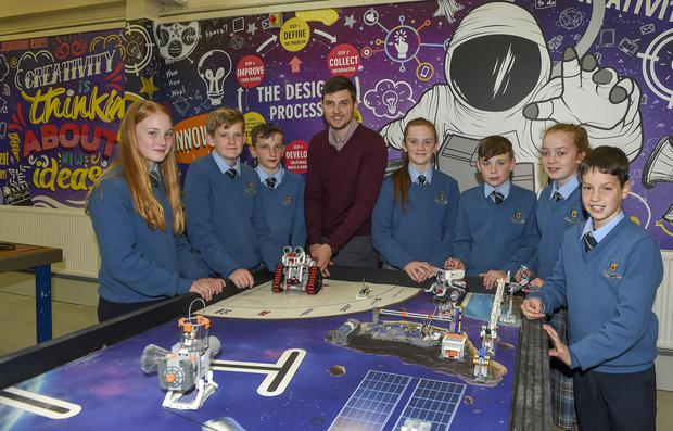 Students from Beech Hill College, Monaghan, pictured in their new robotics room with teacher James O'Shea. Photo: Philip Fitzpatrick