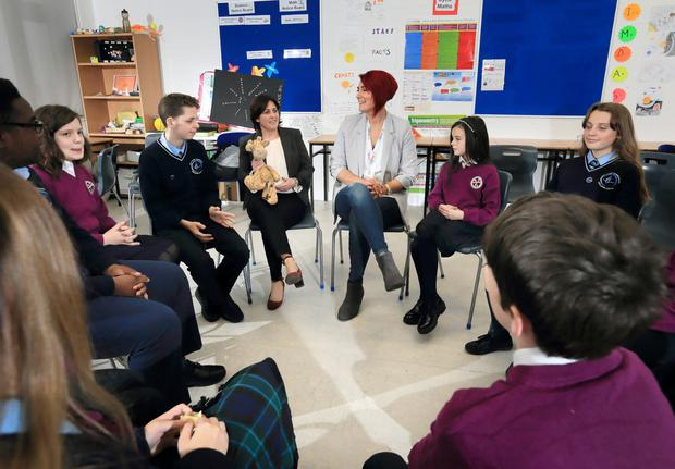 Rachel McGrath (centre left), Principal of Griffeen Community College, pictured with Michelle Stowe of Connect RP and pupils from fifth class of Lucan CNS and second year of Griffeen CC during a Restorative Practice meeting. Photo: Frank McGrath