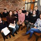 Teacher Thomas Ahern facilitating a BEACONS discussion in Baltinglass with principals, teachers and pupils from Scoil Naomh Iósaf, a primary school, and the post-primary Scoil Chonglais. Photo: Steve Humphreys