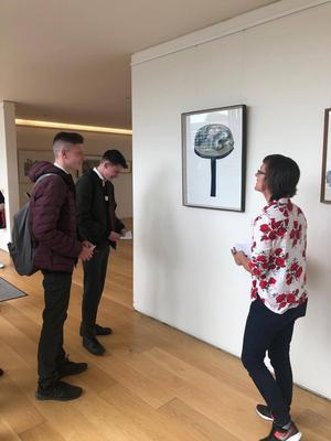 Creagh College students (left) looking at art with facilitator Claire Halpin