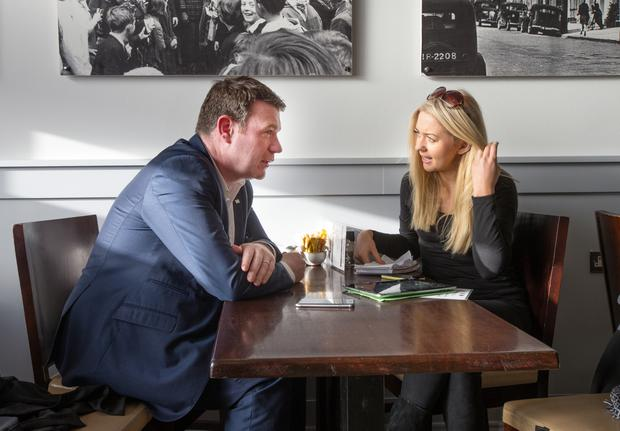 Minister of Environment, Community & Local Government Alan Kelly talks with Niamh Horan in the The Pantry Cafe in Nenagh, Co. Tipperary last Friday.