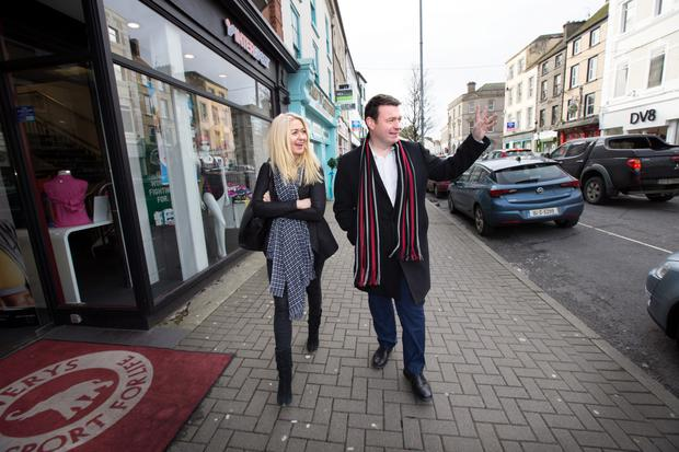 Minister of Environment, Community & Local Government Alan Kelly goes walkabout with Niamh Horan in Nenagh, Co. Tipperary last Friday.