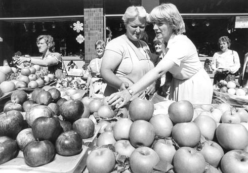 Campaign trail: Eileen Lemass with Dina Moran of Cabra (left) in the 1980s.
