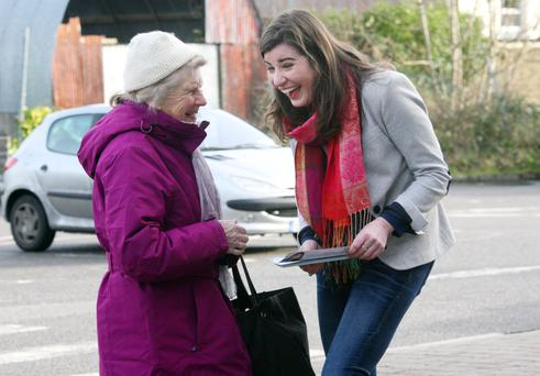 Woman to woman: Fine Gael candidate Maura Hopkins canvassing in Boyle, Co Roscommon, this week. Photo Brian Farrell