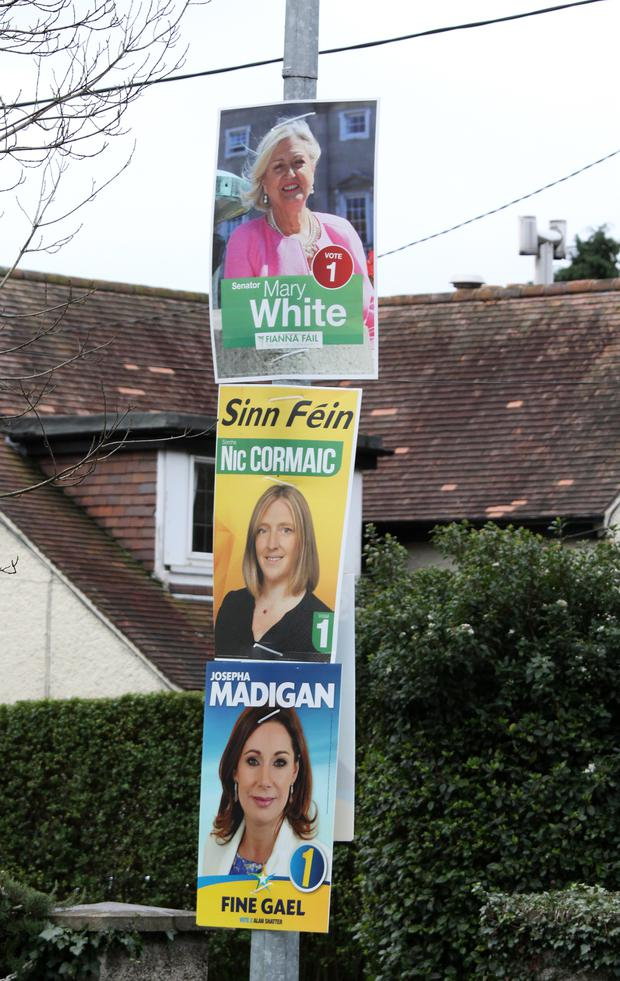 Posters for some of the record number of women who will contest the election on February 26.