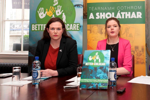 Sinn Féin's Louise O'Reilly and Carlow- Kilkenny candidate Kathleen Funchion. Photo: Leah Farrell/RollingNews.ie