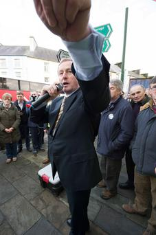 Hands on: Kenny addresses the crowd in Ballyhaunis, Co Mayo, this week. Photo: Andrew Downes.