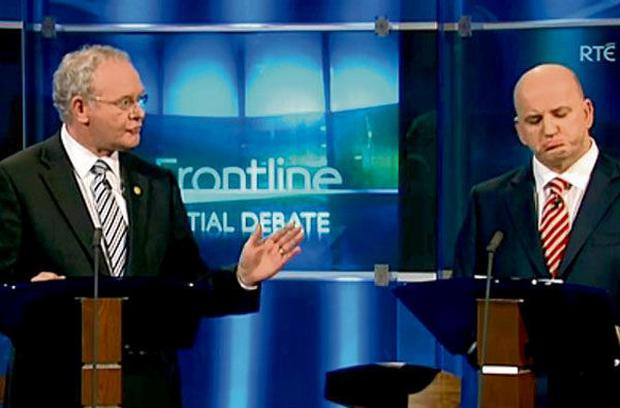 Political duel: Sean Gallagher and Martin McGuinness during the controversial 2011 presidential debate.