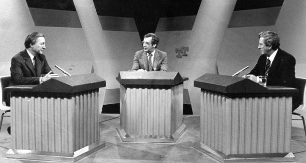 Charles Haughey and Garret FitzGerald in the first-ever TV debate in 1982.