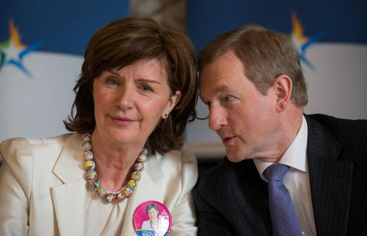 Enda Kenny talking to Stephanie Regan in Clontarf Castle. Photo: Fergal Phillips