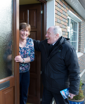Michael Ring canvassing in Claremorris, Co Mayo, with Marie Glynn. Photo: Michael McLaughlin
