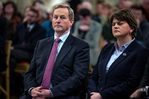 Taoiseach Enda Kenny joins Northern Ireland's First Minister Arlene Foster at a 1916 event at Christ Church in Dublin. Ms Foster last night insisted the event was not a 1916 Rising commemoration. Ms Foster, who has vowed to snub 1916 commemorations, was in Dublin to take part in a Church of Ireland-organised talk about the offensive. The church had billed it as a commemoration but later said the discussion was